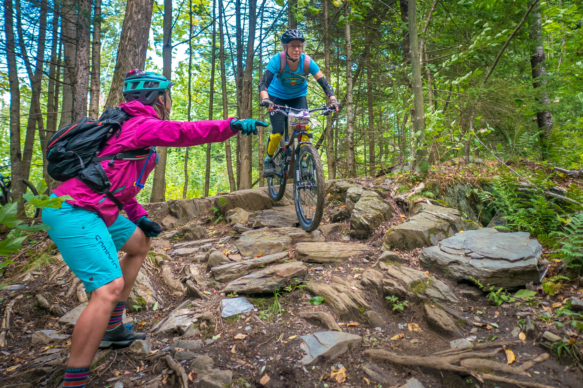 Coach Lindsey helps riders develop confidence on new terrain | Ladies AllRide Clinic East Burke, VT