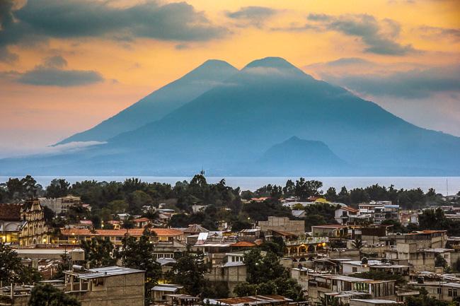 View of lake atitlan from above Panajachel Guatemala