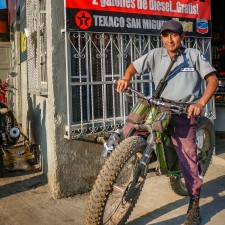 When the security guard asked to try out the Fatbike we were happy to oblige! To protect and serve. :D | Expedition Volcanarchy: Fatbiking Guatemala's Highest Volcanoes. Original Date: 04/25/2016Location: Zona 03 Quezaltenango, Guatemala© 2016 Brendan James Photography www.picsporadic.com
