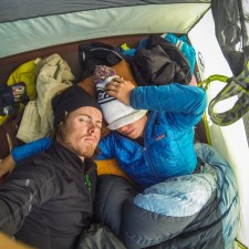 Sick, and tent-ridden Liz and I both faught stomach virus | Expedition Volcanarchy: Fatbiking Guatemala's Highest Volcanoes. Original Date: 03/23/2016Location: Unnamed Road Ixchiguán, Guatemala© 2016 Brendan James Photography www.picsporadic.com