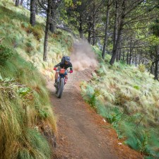 """Brendan James bombing the hiking trail to Volcán Acatenango (13,040ft) the loose volcanic soil provided the perfect terrain to shred Fat Bikes, their 5"""" tires holding the corners a high speed on the 4,000ft descent."""
