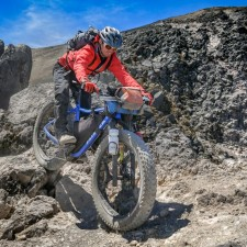 What fat tires are made for: Brendan surfing the steep and deep volcanic rubble near the summit cone of Volcán Acatenango (13,040 ft). The volcano's last eruption was in 1972.