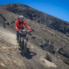 Loose and steep and deep - Brendan guides the fatbike down the sandy slopes of Volcán Acatenango.