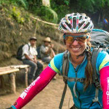 Dusty liz after the 4,000ft descent of Volcán Acatenango - the entire trail was ridable by fatbike.